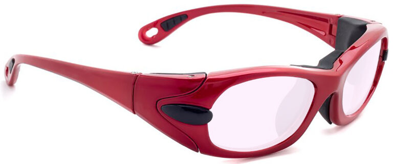 Model EGM Radiation Glasses and Laser Safety Glasses in Red with Pink Lenses, Side Right Angle
