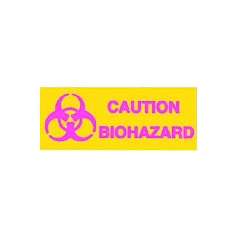 Biohazard Caution Sign in Yellow Plastic with Magenta Font
