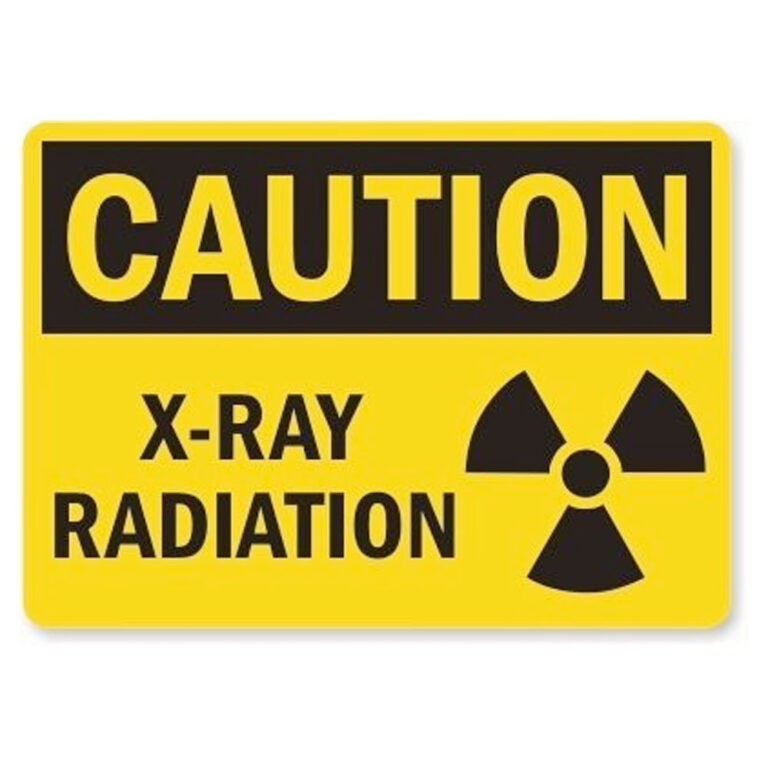 Plastic Yellow Caution X Ray Sign with Black Lettering and radiation symbol