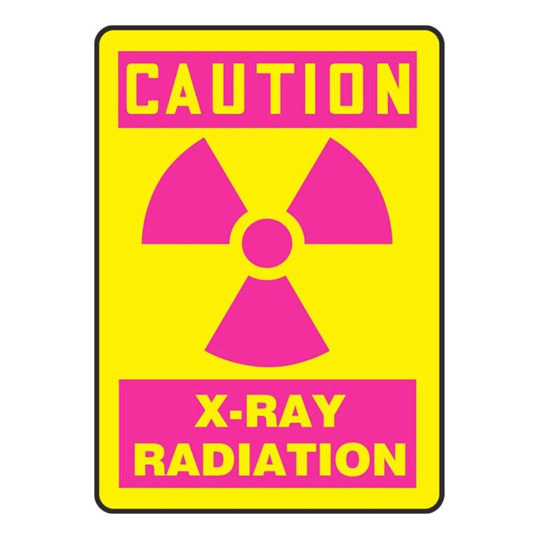 Plastic Yellow Caution X-Ray Sign with Pink Radiation Symbol