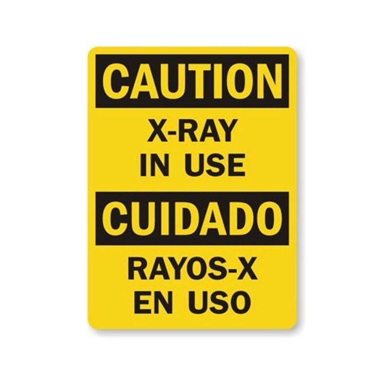 Yellow Warning sign Caution Text reads s-ray in use, sign is also in spanish