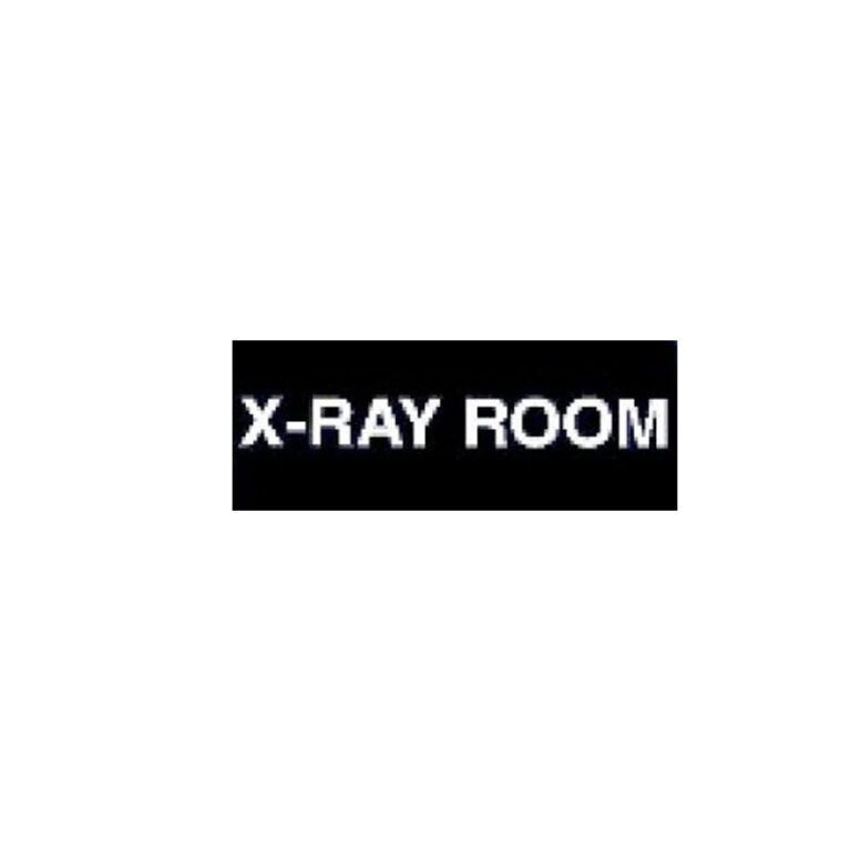 Black Plastic X-Ray Room Sign with White Font