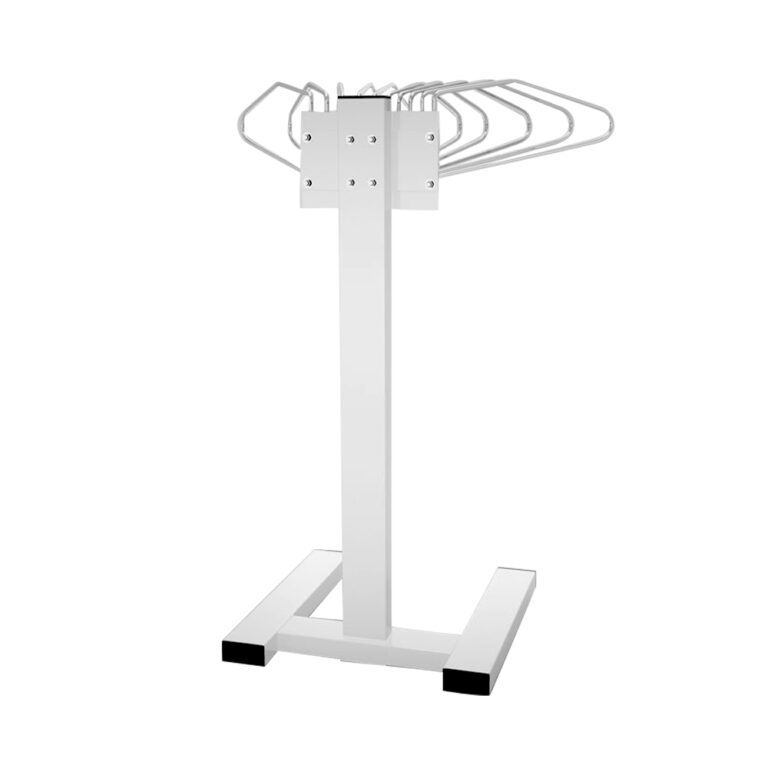 Mobile Multiple Apron Hanger with 10 Swing Arms Back Angle