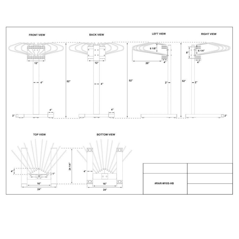Mobile Multiple Apron Hanger with 10 Swing Arms Dimension Sheet