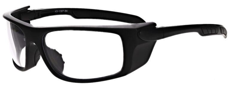 Phillips Model 1387 Radiation Protective Glasses in Black, Side Left Angle