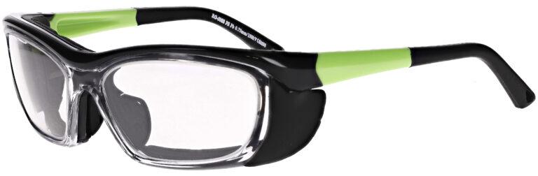 Phillips Model RG-EX601 Radiation Glasses in Black and Green, Side Left Angle