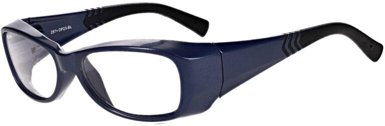 Phillips Model OP23 Radiation Protective Glasses in Blue, Side Left Angle
