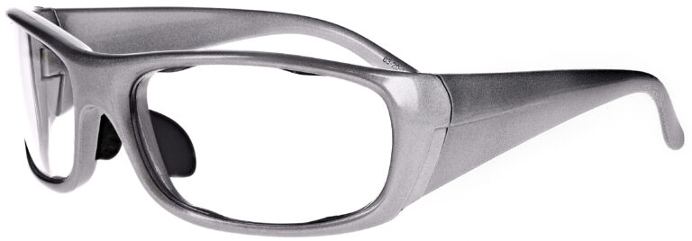 Phillips Model P820 Radiation Glasses in Silver, Side Left Angle