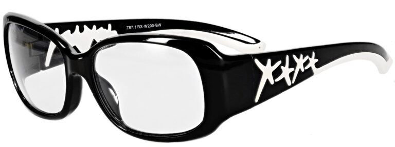 Phillips Model W200 Radiation Protective Glasses in Black and White, Side Left Angle