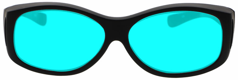 Front Angle of Radiation/Laser (Multiwave YAG, Alexandrite Diode) Combination Protective Eyewear in Black with Blue Lenses