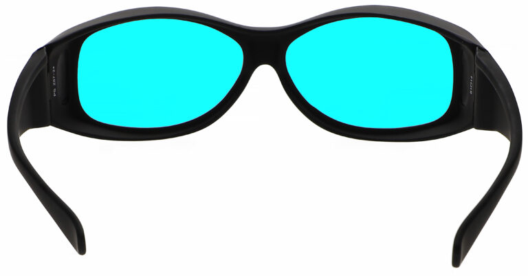 Rear Angle of Radiation/Laser (Multiwave YAG, Alexandrite Diode) Combination Protective Eyewear in Black with Blue Lenses