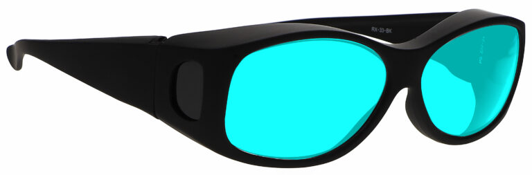 Side Right Angle of Radiation/Laser (Multiwave YAG, Alexandrite Diode) Combination Protective Eyewear in Black with Blue Lenses