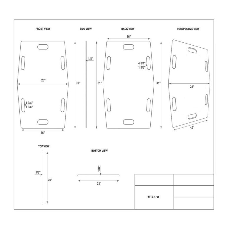 Slide Transfer Board Dimension Sheet with multiple views