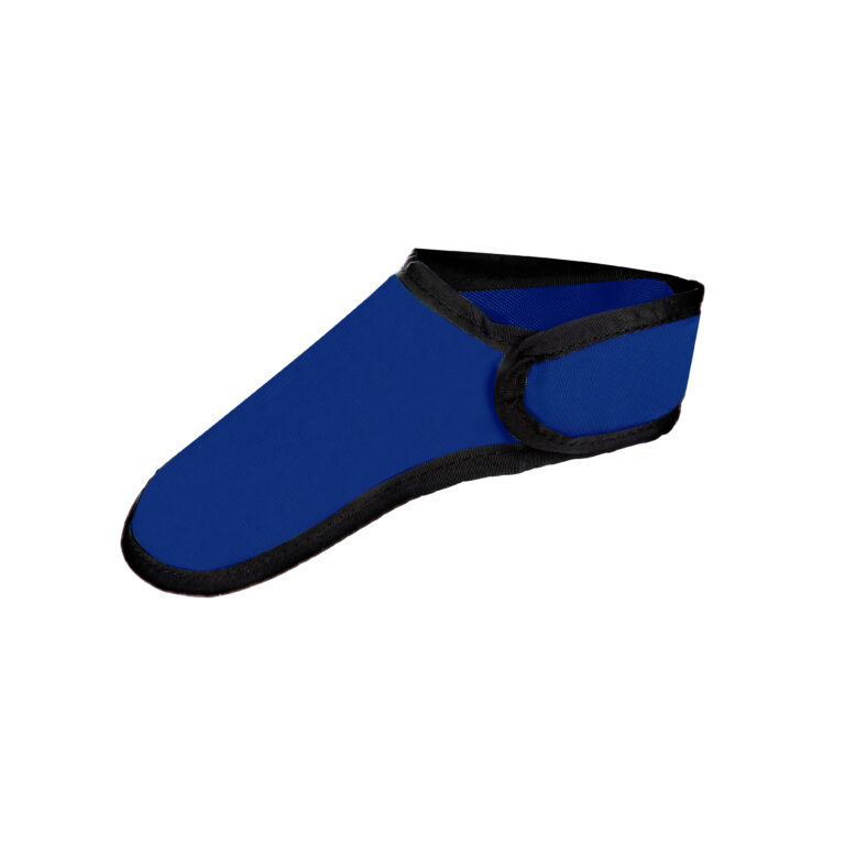 Thyroid Shield in Blue, Side Angle