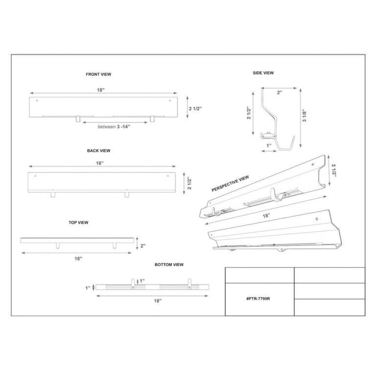 Transfer Device Storage Rack Dimension Sheet