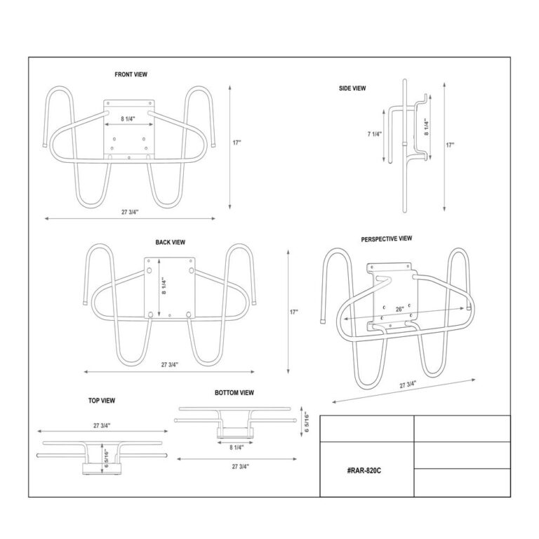 Wall Mounted Chrome Lead Apron and Glove Holder Dimension Sheet