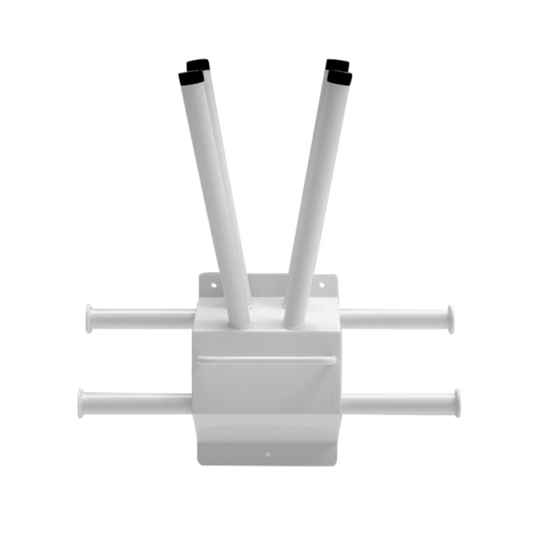 WALL MOUNTED STEEL MULTI APRON AND GLOVE RACK Front Angle with Mounting Screw Holes