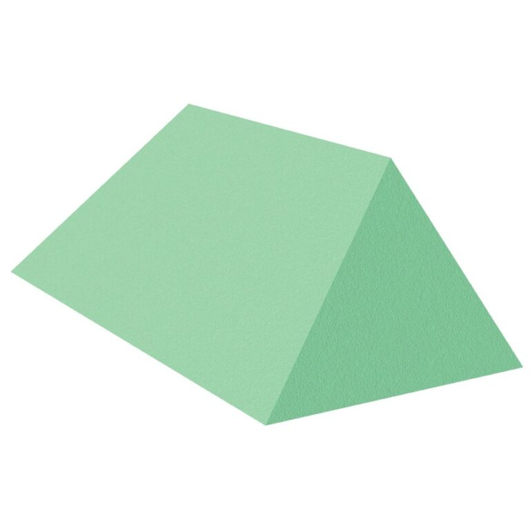 Green Stealth Cote 45 Degree Spinal Wedge for x-Rays, angled to the right