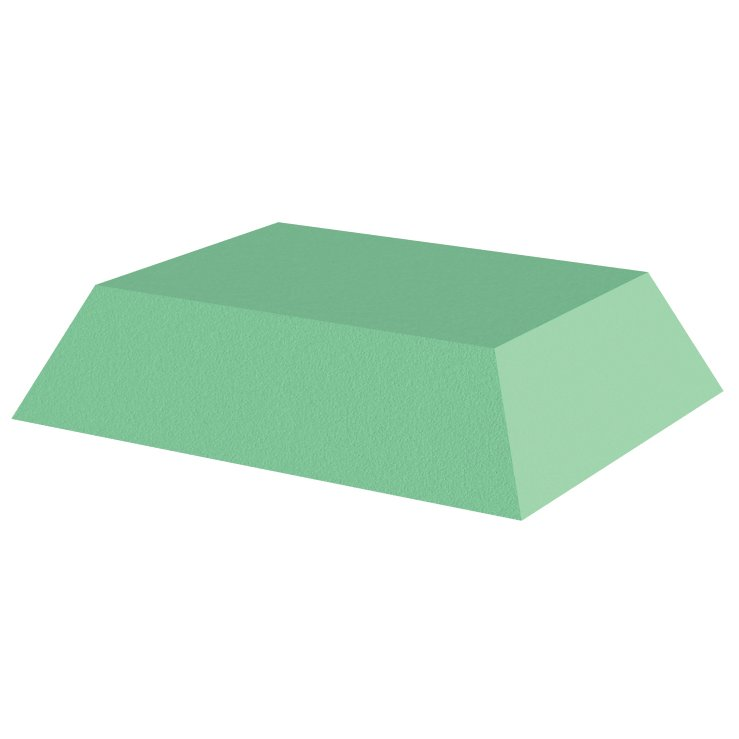 Green Stealth Cote 45 degree spinal wedge, 3inches tall, for x-Rays