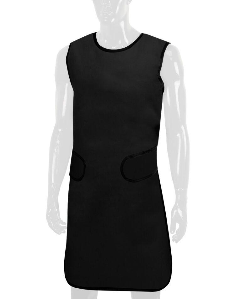 Attenutech Flexiback Frontal Apron in Black, Angled to the Front