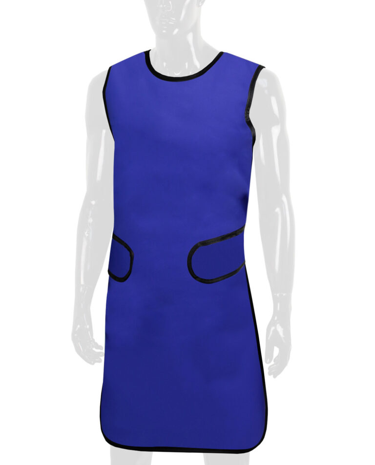 Attenutech Flexiback Frontal Apron in Blue, Angled to the Front