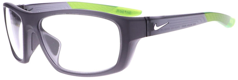 Nike Brazen Radiation Glasses in Matte Dark/Grey White Frame, Angled to the Side Left