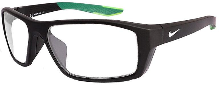Nike Brazen Shadow Radiation Glasses in Matte Black, Angled to the Side Left