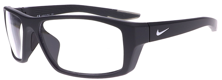 Nike Brazen Shadow Radiation Glasses in Matte Anthracite/Grey, Angled to the Side Left