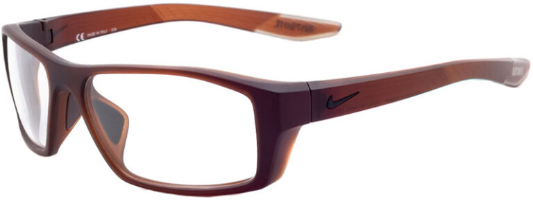Nike Brazen Shadow Radiation Glasses in El Dorado, Angled to the Side Left