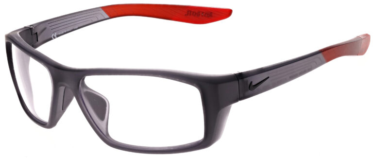Nike Brazen Shadow M Radiation Glasses in Matte Dark Grey/Black, Angled to the Side Left