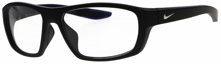 Nike Brazen Radiation Glasses in Matte Black Frame, Angled to the Side Left
