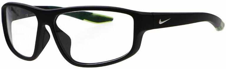 Nike Brazen Fuel Radiation Glasses in Matte Black Frame, Angled to the Side Left