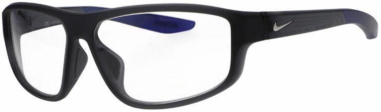 Nike Brazen Fuel E Radiation Glasses in Matte Dark Grey Frame, Angled to the Side Left