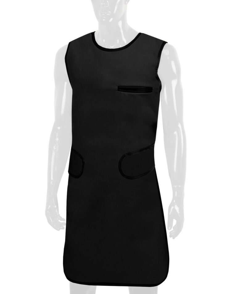 Quickship Flexiback Frontal Apron Black Apron, Angled to the Front