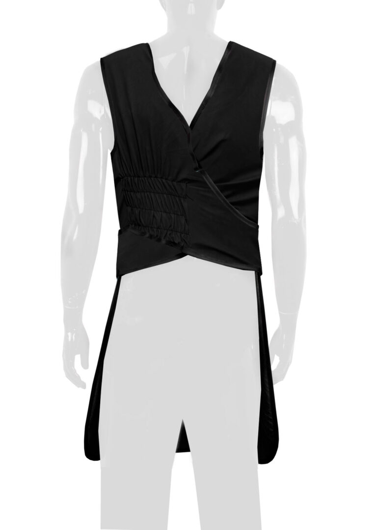 Quickship Flexiback Frontal Apron Black Apron, Angled to the Rear