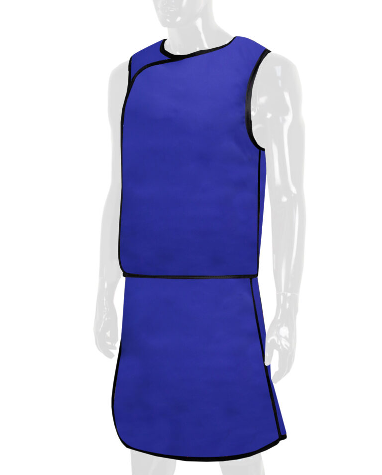 Quickship Full Overlap Vest in Blue, Angled to the Front