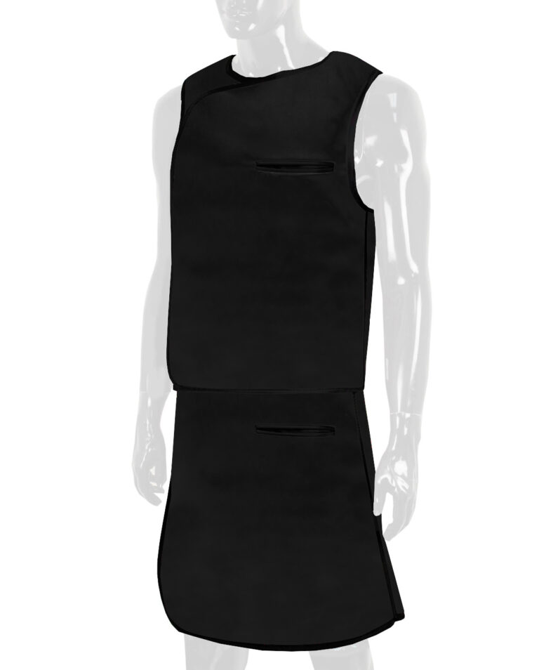 Quickship Vest Skirt Full Overlap Apron in Black Apron, Angled to the Front