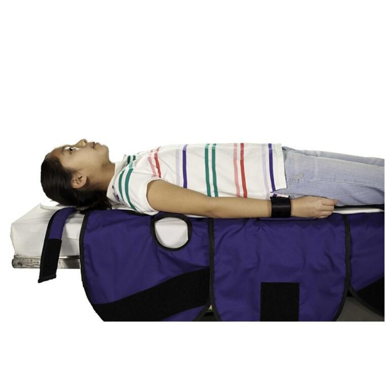 Large Radiolucent Papoose Board, MRI Safe Restraints In Use