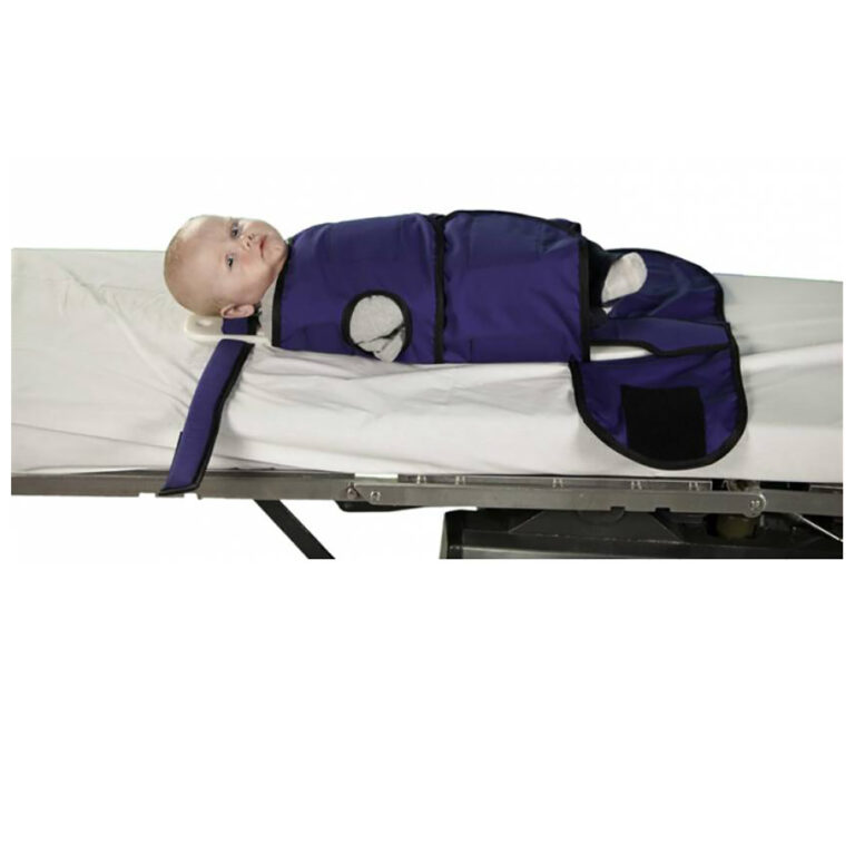 Small Radiolucent Papoose Board, MRI Safe, In Blue, Angled to the Front