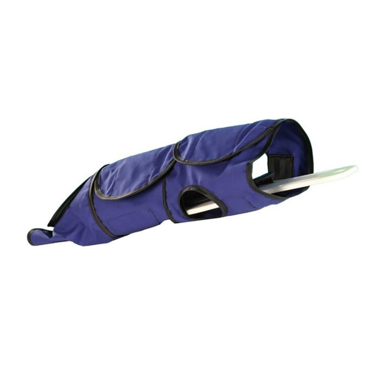 Small Radiolucent Papoose Board, MRI Safe, In Blue, Wrapped up