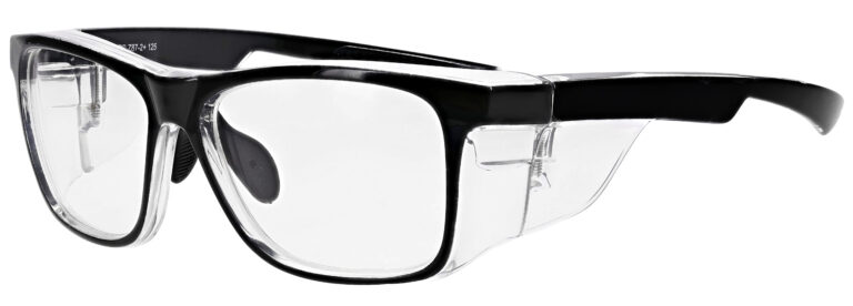 Medical Prescription Safety Glasses RX-15011 in Black Clear Frame with Clear Lenses in Side Left Angle