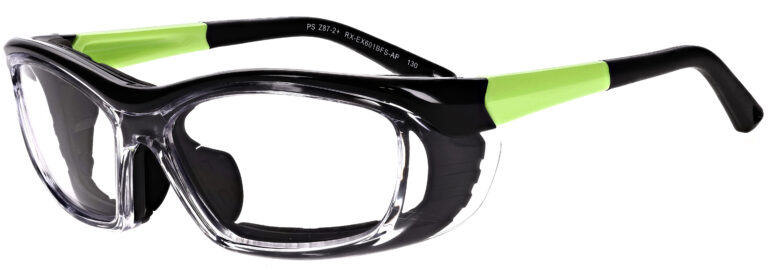 Medical Prescription Safety Glasses RX-EX601 in Matte Apple Green Frame with Foam Gasket with Clear Lens in Side Left Angle