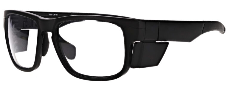 Medical Prescription Safety Glasses RX-F126 in Black Frame with Clear Lenses in Side Left Angle
