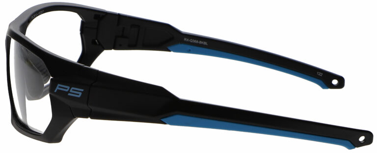 Medical Prescription Safety Glasses RX-Q368 in Black Blue Frame with Clear Lens in Left Angle