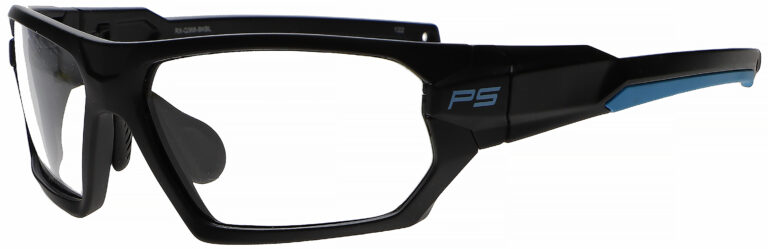 Medical Prescription Safety Glasses RX-Q368 in Black Blue Frame with Clear Lens in Side Left Angle