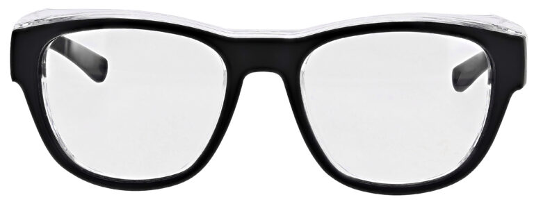 Medical Prescription Safety Glasses RX-X26 in Black Frame with Clear Lens in Front Angle