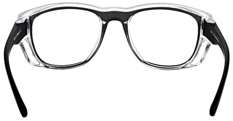 Medical Prescription Safety Glasses RX-X26 in Black Frame with Clear Lens in Rear Angle