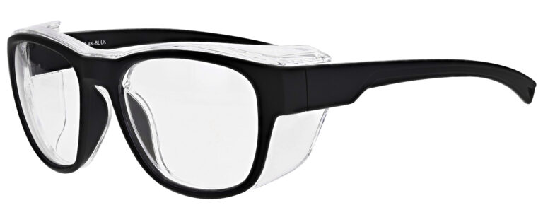 Medical Prescription Safety Glasses RX-X26 in Black Frame with Clear Lens in Side Left Angle