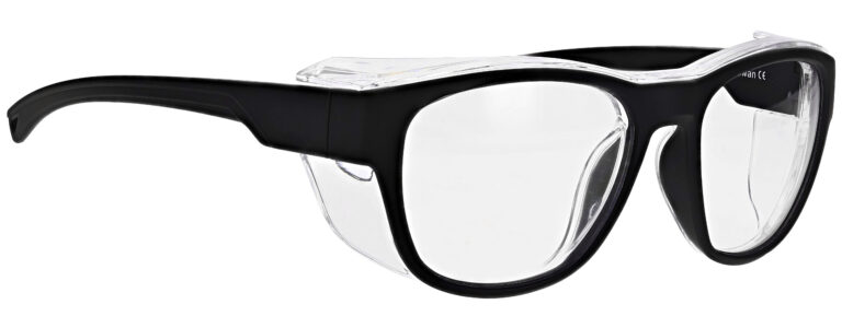 Medical Prescription Safety Glasses RX-X26 in Black Frame with Clear Lens in Side Right Angle