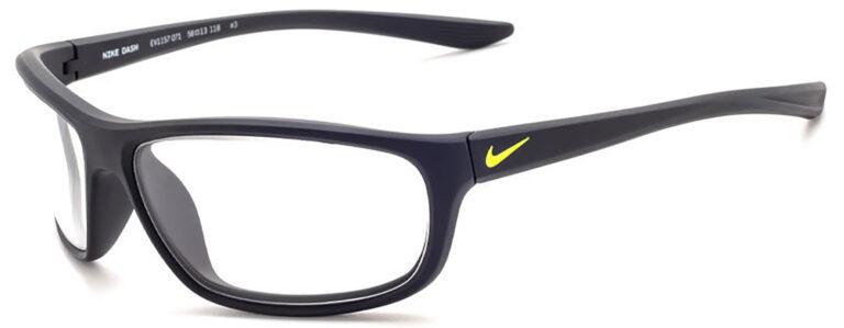 Nike Dash Radiation Glasses in Matte Black/Volt Frame Side Left Angle